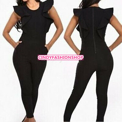 New Celebrities Sexy Women Lotus Sleeve Bodycon Bandage Rompers Casual Jumpsuit