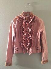 Zoompy Paris Sz Small Women's Mauve Laced Victorian Velvet Ruffle Front Jacket