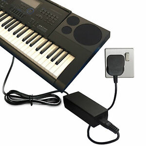 dc 12v power supply mains adapter for casio wk 7600 keyboard digital piano etc ebay. Black Bedroom Furniture Sets. Home Design Ideas