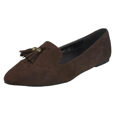 Spot on f80041 Damen dunkel braun Synthetik + Textil flacher Schuh mit Troddel (