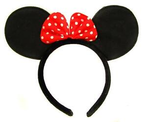 Black Minnie Mouse Ears on Alice Band with Red and White Spotted Bow