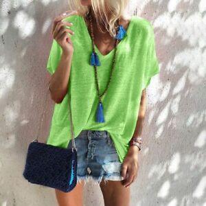 New-Jumper-Fashion-Elegant-Casual-Tops-Loose-Short-Sleeve-T-Shirt-V-Neck-O-Neck