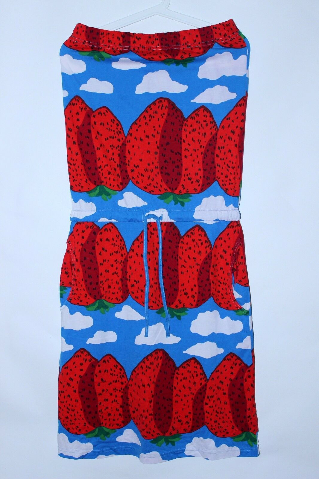 Marimekko MANSIKKA Cotton Strapless Dress Tunic Strawberries Pattern Size M
