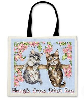 Ideal GIFT for Christmas B/'day Black Handles Personalised Cross Stitch Bag