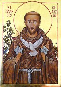 Saint Francis Of Assisi Hand Painted Orthodox Byzantine Icon 22k Ebay