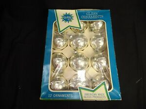 VINTAGE-LOT-OF-12-COBY-GLASS-BALL-CHRISTMAS-ORNAMENTS-SILVER-2-5-034-SHABBY-CHIC