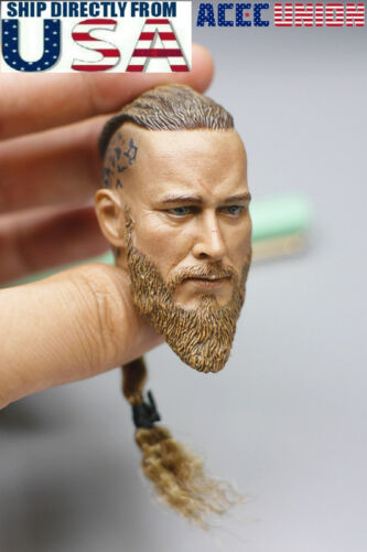 1/6 Ragnar Lothbrok Viking Head Sculpt For 12 PHICEN Hot Toys Male Figure