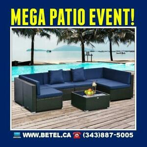 SALE • 7pc Wicker Patio Outdoor Furniture Conversation Set | Coffee Cream and Assorted Colours Canada Preview