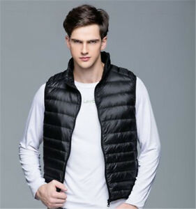 Winter Men Vest White Duck Thin Down Waistcoat Slim Outerwear Plus Size XXXL