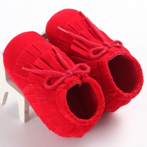 Newborn Baby Girls Boys Tassel Soft Sole Crib Shoes Anti-slip Sneakers Prewalker