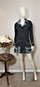 SIONI-Grey-Black-LagenLook-Cardigan-Sweater-Size-S