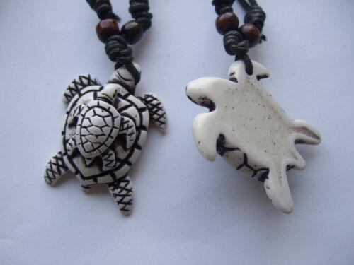 3PCS Faux Yak Bone Double Sea Turtle Tortue Pendentif Collier Surfeur Réglable