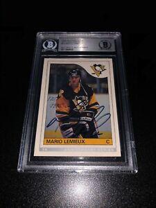 Mario-Lemieux-Signed-1992-93-OPC-Rookie-Reprint-Pittsburgh-Penguins-BAS-Slabbed
