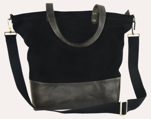 Kiko 717/_9 Womens Black Boyfriend Tote Canvas Handbag Shoulder Bag Purse Leather