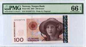 Norway 100 Kroner 2007 P 49 d Gem UNC PMG 66 EPQ