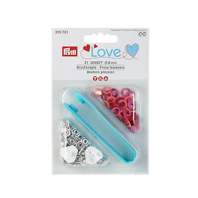 rosa 390700 Prym 21  Nähfrei-Jersey Ringdrucker 8 mm weiß,hellblau