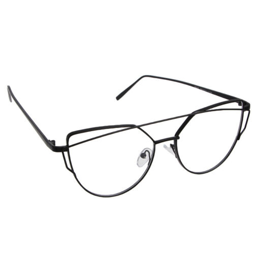 Women Flat Lens Mirror Metal Frame Oversized Cat Eye Sunglasses Shades Eyewear