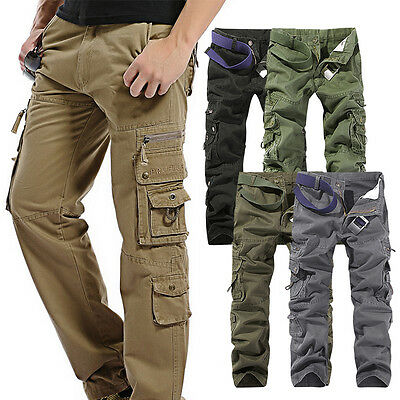 LIYT Mens Loose Outdoor Cargo Pants Casual Camouflage Trousers