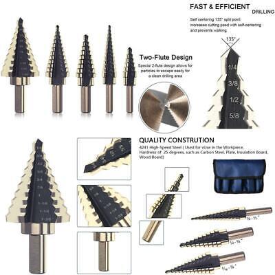 Color : Wood Case 3pcs Step Drill Bit Set Hss Multiple Hole Titanium Step Drill Bits Tool Kit For Drilling