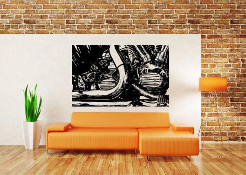 Wall Decor Art Vinyl Sticker Mural Decal Vintage Motorcycle Motor Engine SA709