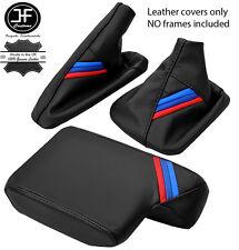 BLACK LEATHER M STRIPES GEAR HANDBRAKE ARMREST COVER FOR BMW 3 SERIES E36 91-99