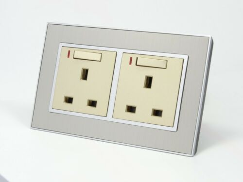 I LumoS AS Silver Satin Metal /& Gold 13A Single//Double Sockets /& Light Switches
