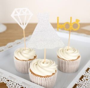 3-X-Gold-Diamond-I-DO-Cupcake-Toppers-Wrapper-Wedding-Party-Decoration-Engagemen