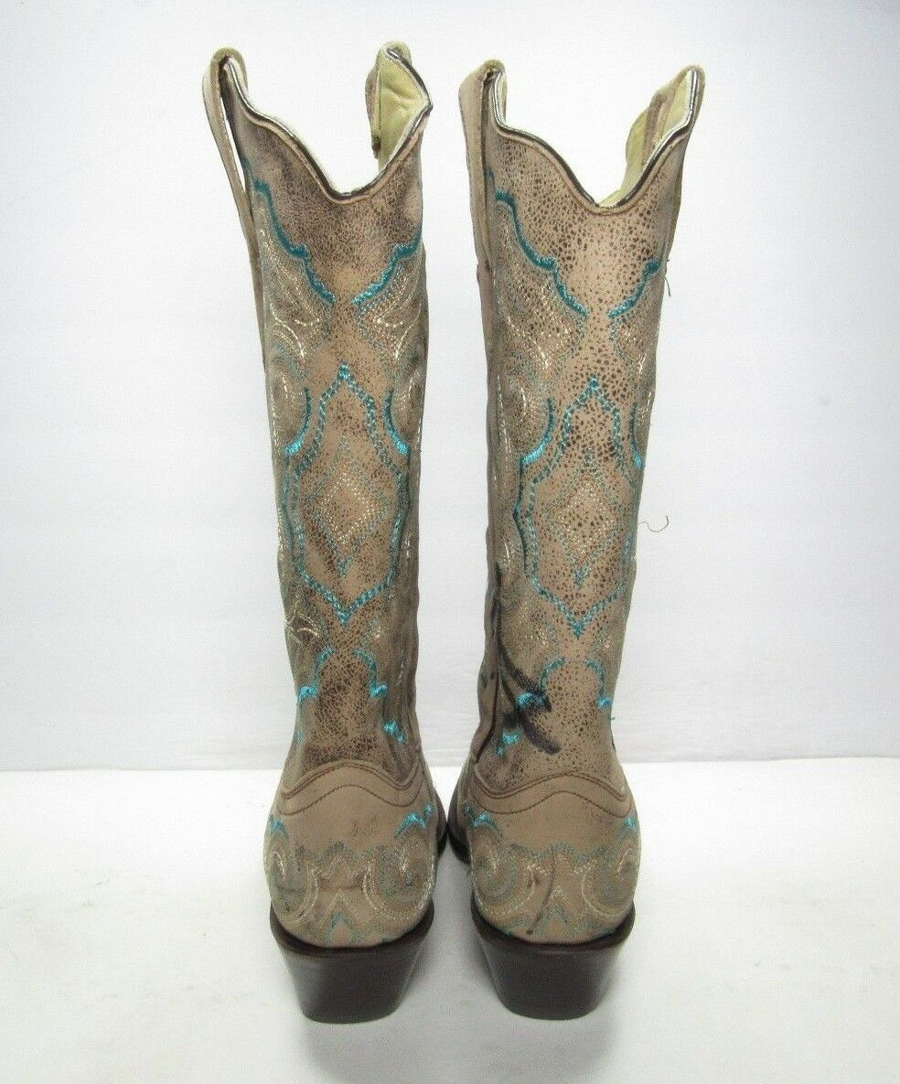 Corral Embroidered (B474) Distressed Snip Toe Cowgirl Stivali, Donna Size:7 M (B474) Embroidered 838c75