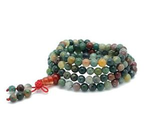 Multi-Color-Agate-Gem-Tibet-Buddhist-6mm-108-Prayer-Beads-Mala-Necklace