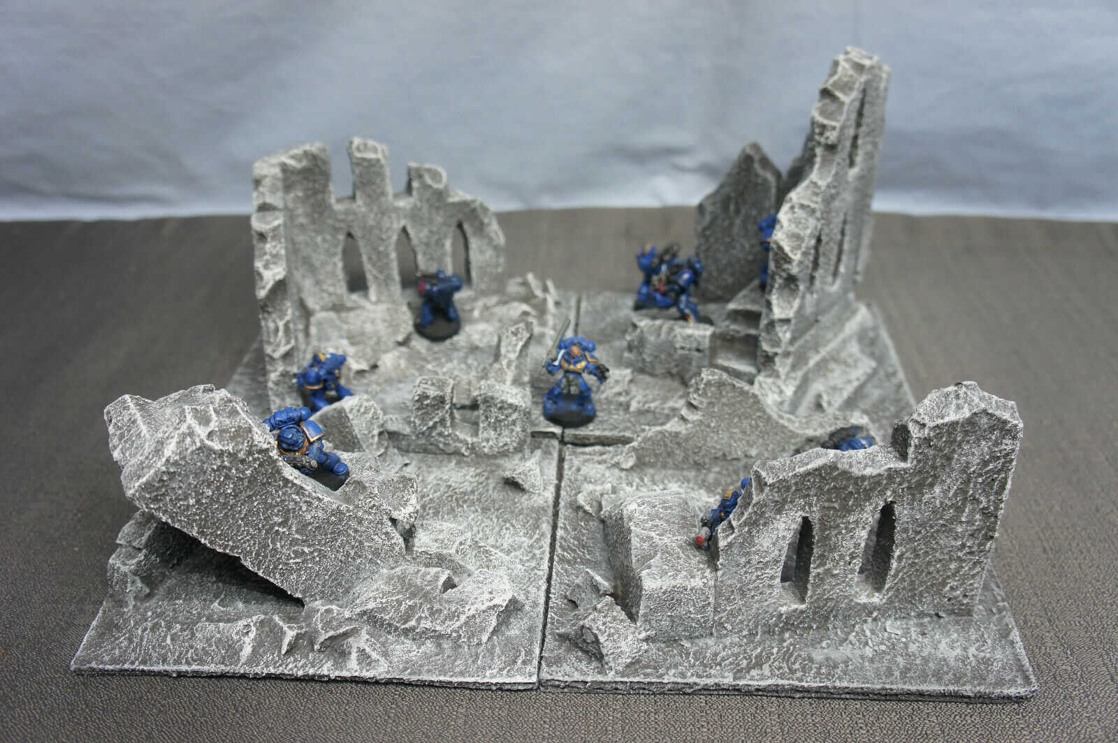 WARGAME Terrain Scenery Ruins Destroyed Building Set X 4 Handcrafted Warhammer