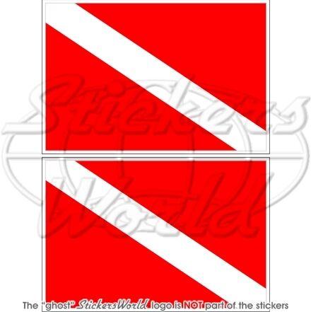 """SCUBA DIVE DOWN Diver Flag DIVING 100mm Vinyl Bumper Stickers Decals x2 4/"""""""