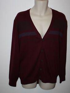 Alan-Flusser-100-Cotton-Button-Front-Striped-Sweater-Size-XL-Long-Sleeve-NEW