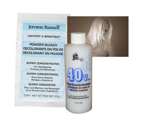 w// 40v Peroxide developer Jerome Russell LIGHTEST /& BRIGHTEST BLEACH POWDER 25g