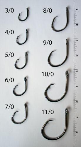 100 Size 8//0 4x Strong Offset Circle Fishing Hooks L2004