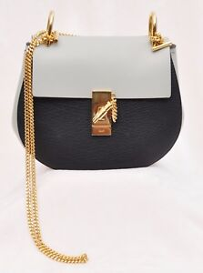 197e2a44d7 Details about Chloé Women's Drew Small Chain Leather Shoulder Bag,  Black/Gray, MSRP $1,950