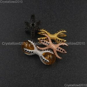 Zircon-Gemstone-Pave-Drilled-Double-Claw-Clasp-Connector-Bracelet-Charm-Beads