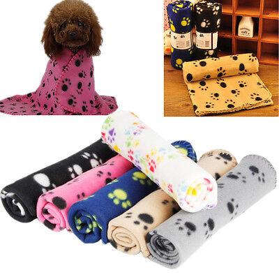 Pet Small Large Warm Paw Print Dog Puppy Cat Pig Fleece Blanket Beds Mat A CSH