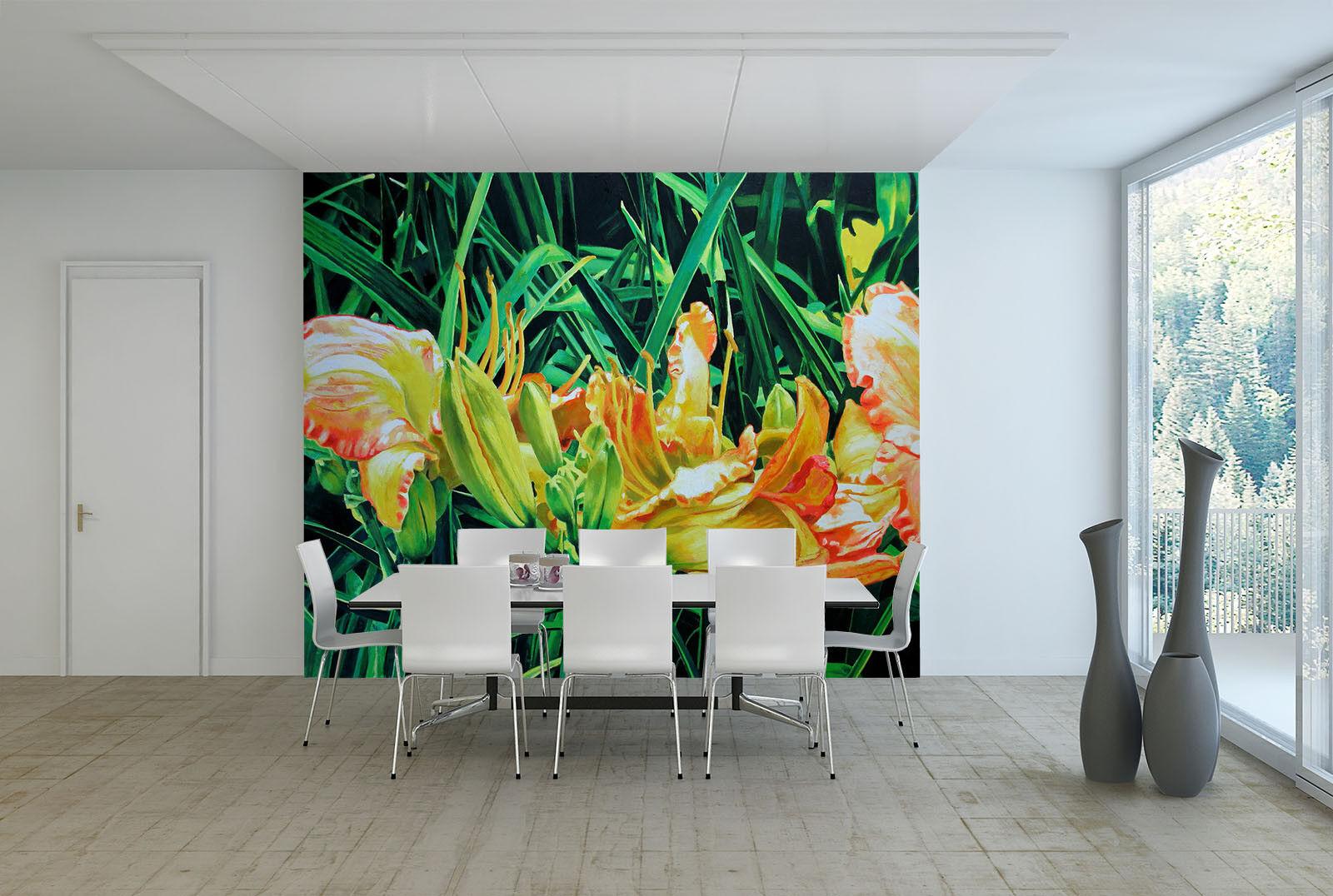 3D Grüne Pflanze Blaumen 900 Tapete Wandgemälde Tapete Tapeten Bild Familie DE