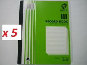 5x Olympic Record Book copymate carbonless 50 leaf Triplicate No.707 140860