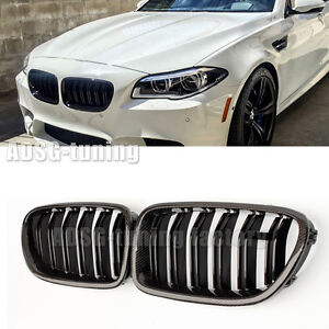 details about for bmw 5 series f10 f11 glossy carbon fiber front grille grill m5 528i sedan widebody e39 body kit bmw 5 series craze dritech carbon fiber