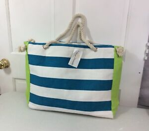7a24ae0f7c Image is loading PAIGE-DANIELLE-Striped-Beach-Bag-Canvas-Rope-Handle-