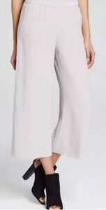 WIDE LEG WRAP PANT LARGE $278 NEW EILEEN FISHER BLACK SILK GEORGETTE CREPE