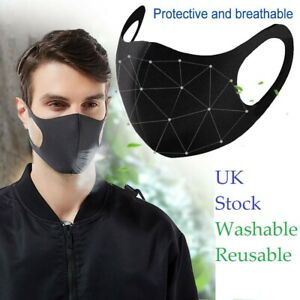 Face Mask Reusable And Washable Black Ebay