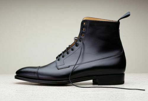 NEW-Handmade men schwarz leather Stiefel, dress Stiefel for men, men ankle high Stiefel