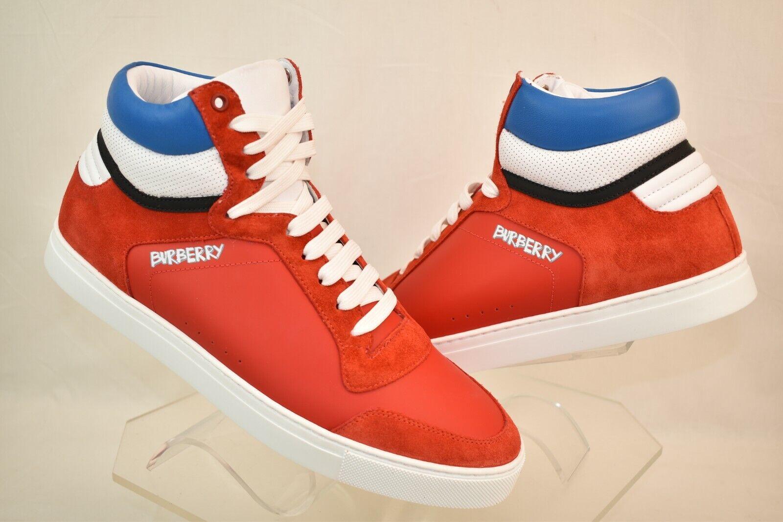 New in Box BURBERRY Reeth rouge vif cuir daim Logo Hi Top baskets 42 US 9 Italie
