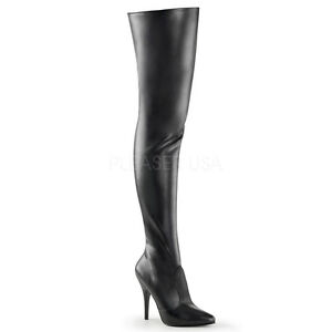 "PLEASER Sexy Stripper 5"" Heel Matte Black Thigh High Boots ..."