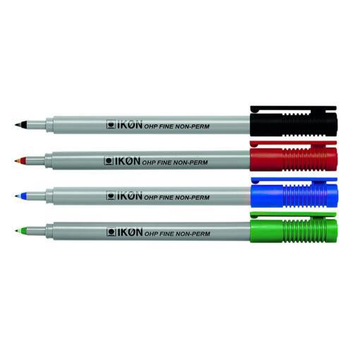 Ikon OHP Pen Fine Point Black//Blue//Red//Green Wallet of 4