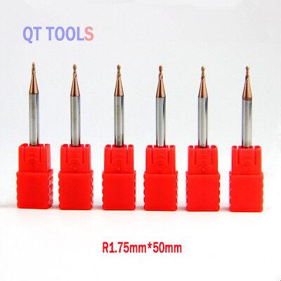 6Pcs Radius 3mm*150mm Tungsten Carbide End Mill CNC Engraving Cutter Drill HRC45