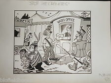"CLIFFORD C LEWIS ""CLEW"" Original Pen & Ink Cartoon - Circus Pay Day/Monkey #374"