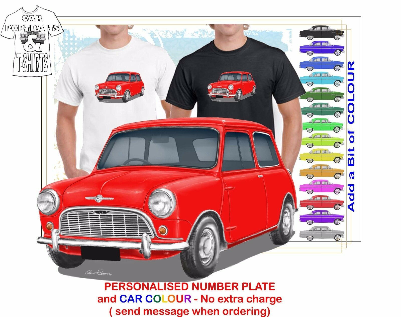 CLASSIC 1959-62 MORRIS 850 MINI MINOR ILLUSTRATED T-SHIRT MUSCLE RETRO  CAR